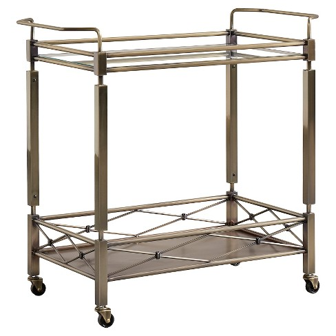 Evelyn Metal + Glass Bar Cart - Antique Brass - Inspire Q - image 1 of 4