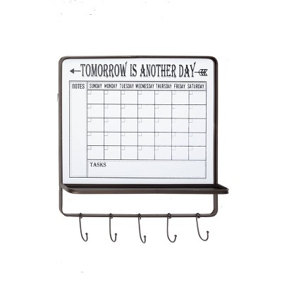"24"" x 26 "" Farmhouse Style Dry Erase Calendar Wall Decor with 5 Hooks and Shelf Black/White - Olivia & May"