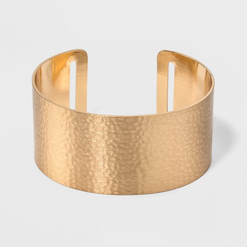 Open Cuff Hammered Metal Bracelet - Universal Thread™ Gold - image 1 of 1