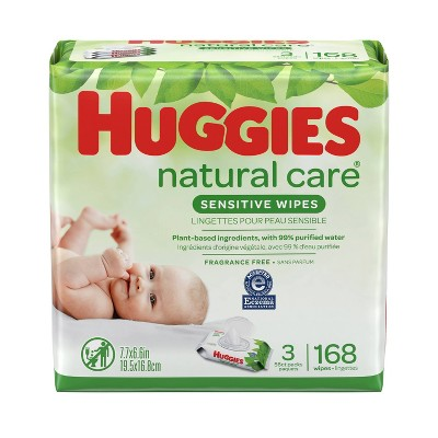 Huggies Natural Care Sensitive Baby Wipes Unscented, 3 Flip-Top Packs (168ct)
