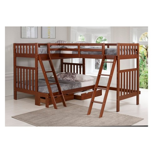Twin Over Full Aurora Bunk Bed With Tri Extension And Storage Drawers Alaterre Furniture Target