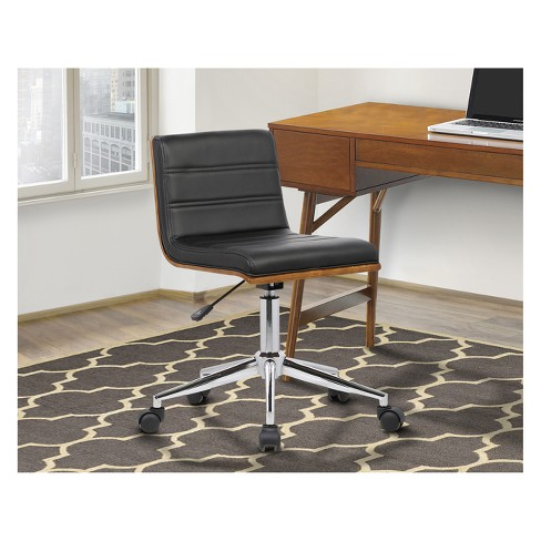 Bowie Mid Century Office Chair In Chrome Finish With Black Faux Leather And Walnut Veneer Back Armen Living Target