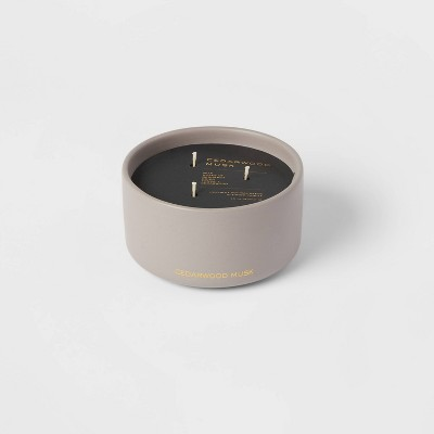 15oz Ceremic Jar 3-Wick Black Lable Cedarwood Musk Candle - Threshold™