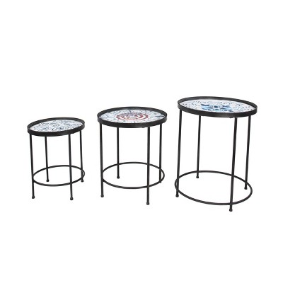 Accent Tables Set Of 3 Nesting Round Iron Framed - Olivia & May