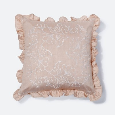 """18""""x18"""" Alana Embroidered Square Throw Pillow Natural - NFC Home"""