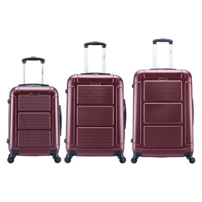 InUSA Pilot 3pc Hardside Spinner Luggage Set 20 & 24 & 28  - Wine