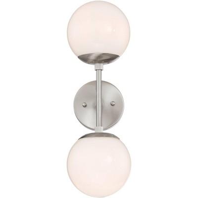 "Possini Euro Design Mid Century Modern Wall Light Sconce Brushed Nickel 17 3/4"" High 2-Light Fixture Opal Glass Bathroom Hallway"