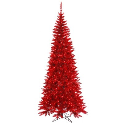 Vickerman Red Tinsel Fir Artificial Christmas Tree