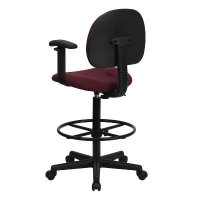 Ergonomic Drafting Chair Adjustable Burgundy   Flash Furniture