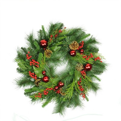 """Arett Sales 24"""" Unlit Mixed Hampton Pine Cone, Berry and Red Ball Ornament Artificial Christmas Wreath"""