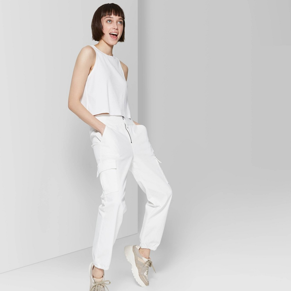 Women's High-Rise Zip Front Cargo Pants - Wild Fable White 6