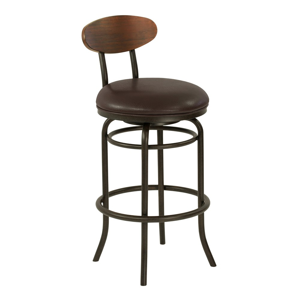 "Image of ""26"""" Armen Living Davis Mid Century Counter Height Metal Swivel Barstool Ford Brown"""