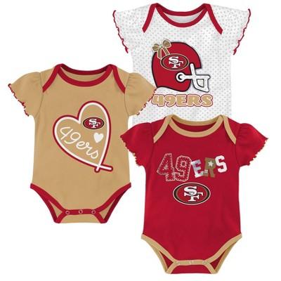 NFL San Francisco 49ers Baby Girls' Newest Fan 3pk Bodysuit Set - 3-6M