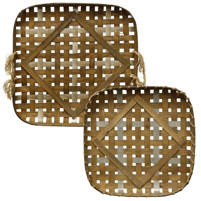34  2pc Woven Strippings Farmhouse Style Metal and Wood Strip Basket Trays Decorative Wall Art Brown - StyleCraft