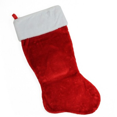 Northlight 35-Inch Traditional Red with White Cuff Decorative Plush Christmas Stocking