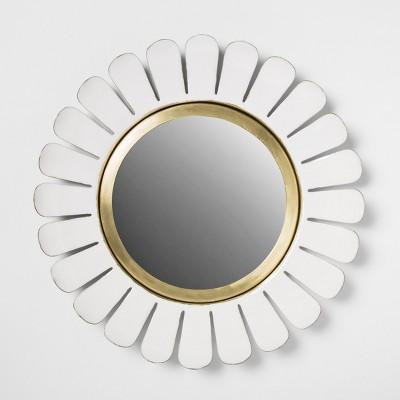 14  Decorative Enamel Flower Wall Mirror White - Opalhouse™
