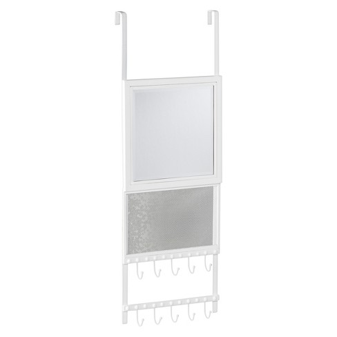 Kandance Over-the-Door Jewelry Storage with Mirror - White - Aiden Lane - image 1 of 3
