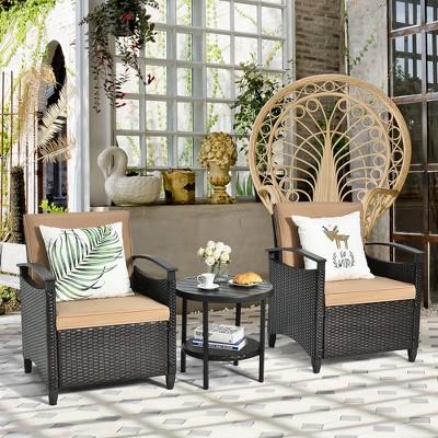 Costway 3PCS Patio Rattan Furniture Set Cushioned Sofa Storage Table W/ Shelf Garden