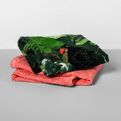 2pk Jungle Washcloth Towel Set Green/Coral - Opalhouse™