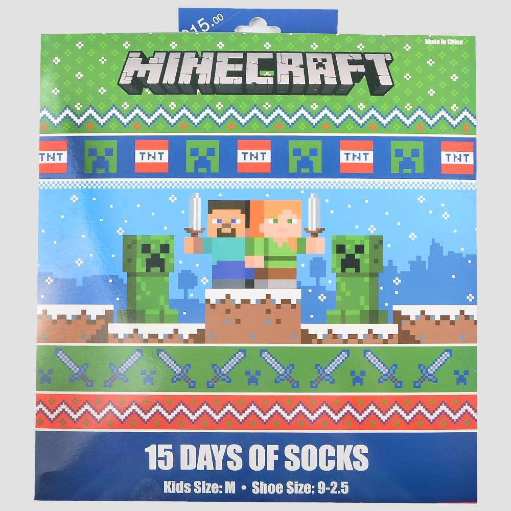 Image of Boys' Minecraft 15 Days of Socks Advent Calendar - Colors May Vary L, Boy's, Size: Large, Blue