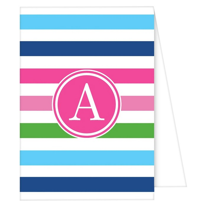 Note Cards - Preppy Stripe Monogram - image 1 of 1