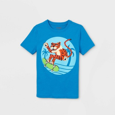 Boys' Short Sleeve Skateboarding Tiger Graphic T-Shirt - Cat & Jack™ Blue