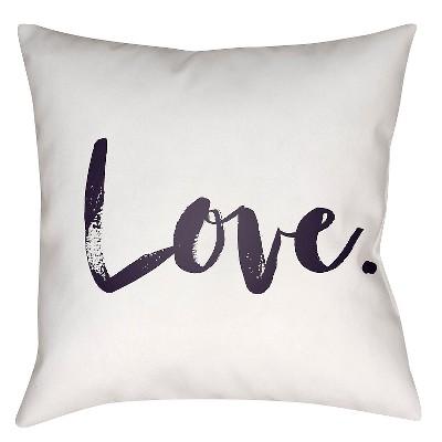White Signature Love Throw Pillow 18 x18  - Surya