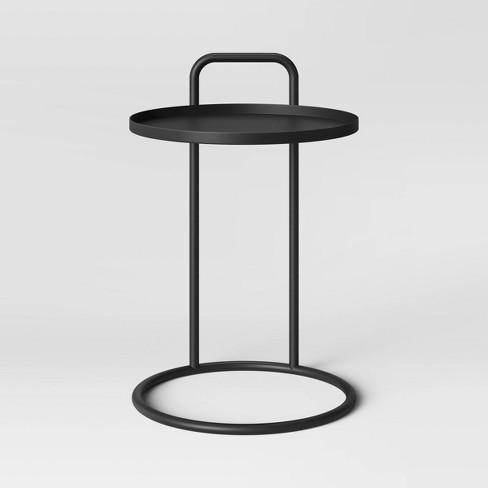Desoto Metal Handle C Table Black, Round C Table