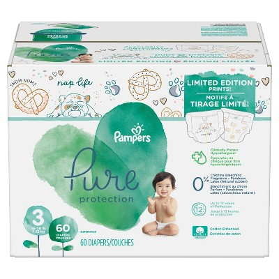 Pampers Pure Protection 3 Disposable Diapers - Size 3 (60ct)