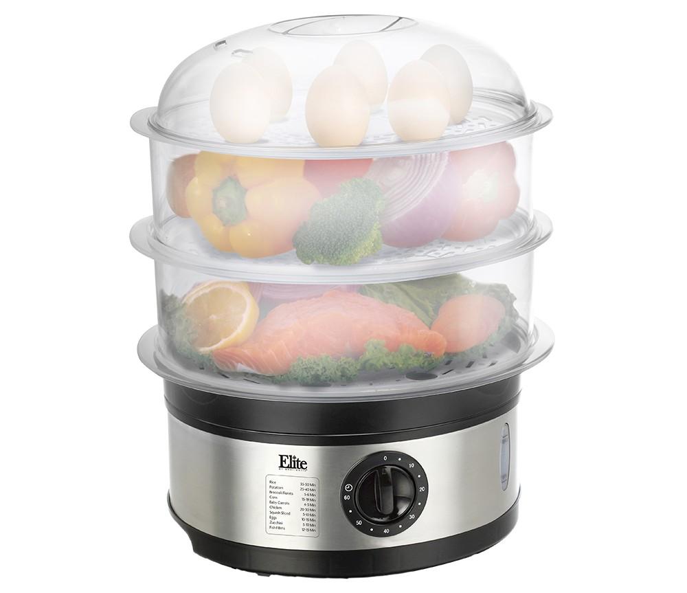 Image of Elite Platinum 3-tier 8.5-Quart Food Steamer, Medium Silver