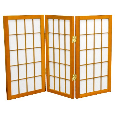 2 ft. Tall Desktop Window Pane Shoji Screen (3 Panels) - Oriental Furniture