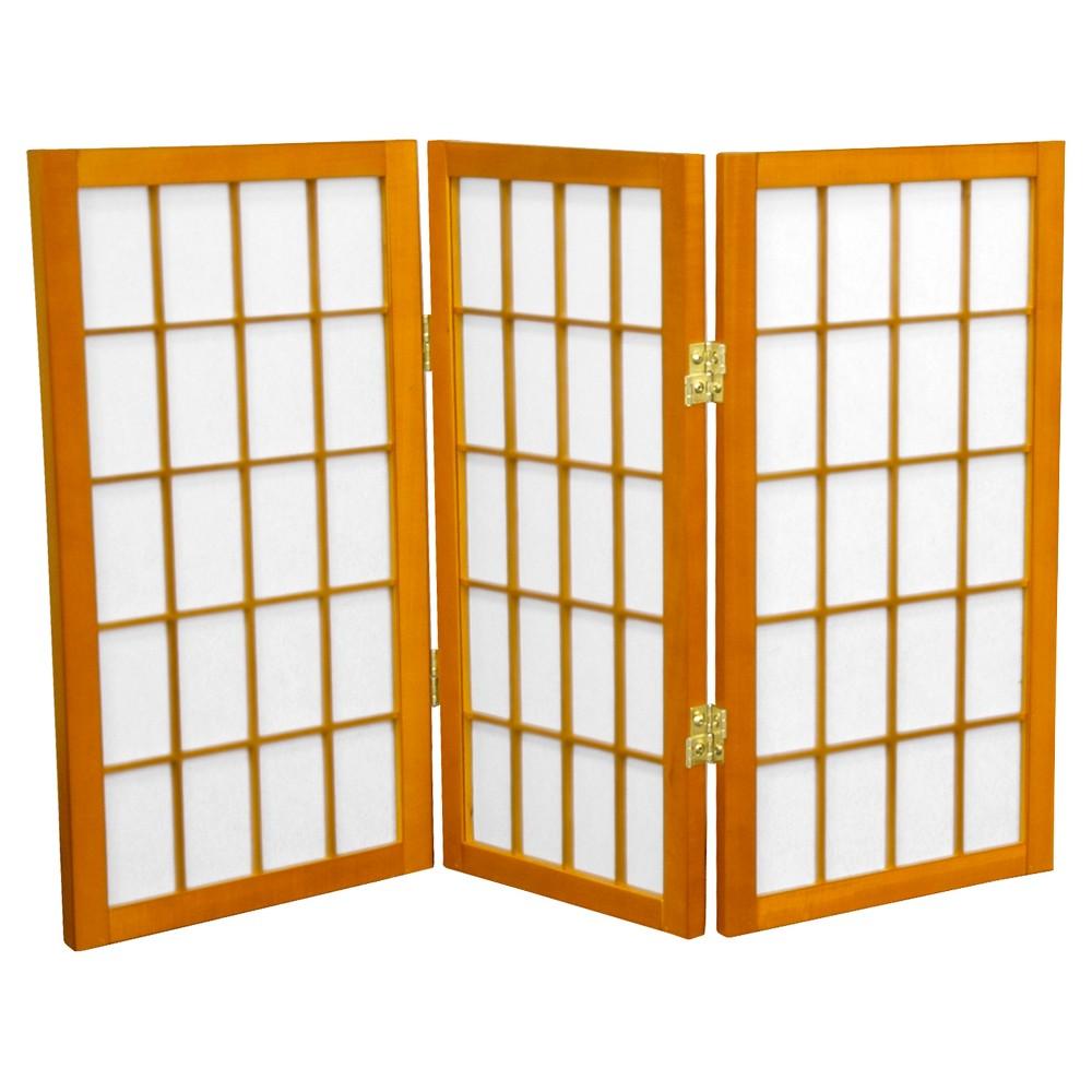 Image of 2 ft. Tall Desktop Window Pane Shoji Screen - Honey (3 Panels) - Oriental Furniture