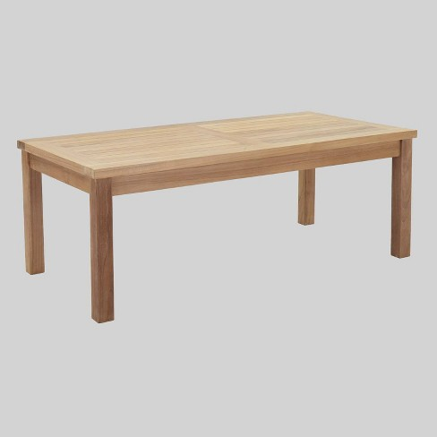 Marina Outdoor Patio Teak Rectangle Coffee Table in Natural - Modway - image 1 of 2