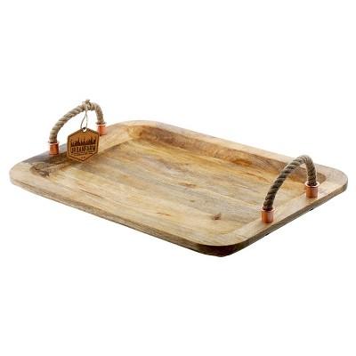 Thirstystone Large Rectangle Mango Wood Tray With Rope Handles