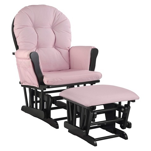Stork Craft Hoop Black Glider and Ottoman - Pink Blush Swirl - image 1 of 2