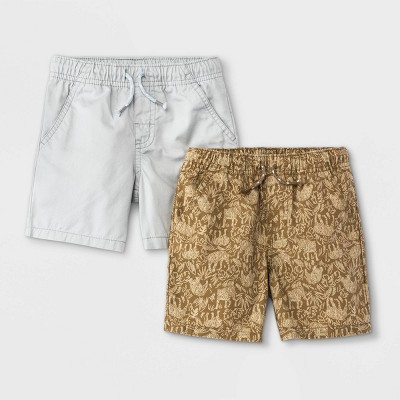 Toddler Boys' 2pk Woven Pull-On Shorts - Cat & Jack™ Brown/Gray