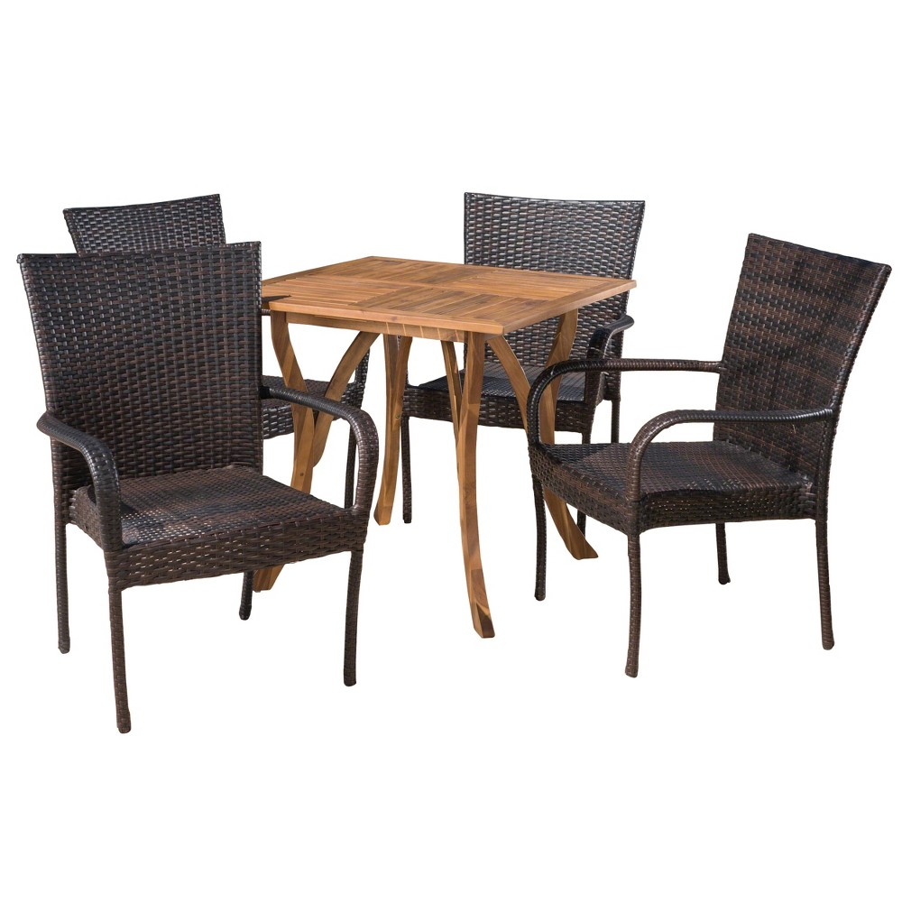 Briar 5pc Acacia & Wicker Dining Set - Teak/Brown (Brown/Brown) - Christopher Knight Home