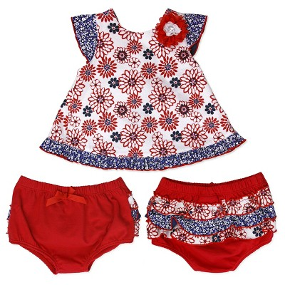 Baby Grand Signature Baby Girls' Jersey Spandex Shirt and Diaper Cover Set - Red 3-6M