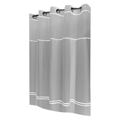 Solid Shower Curtain White/Gray - Hookless