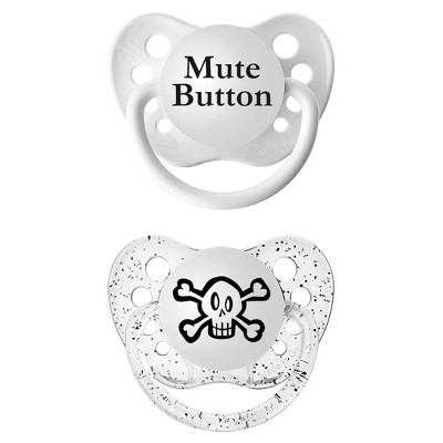 Ulubulu 2pk Pacifiers Skull & Mute Button