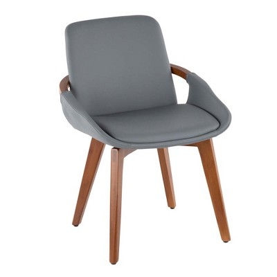 Cosmo Mid-Century Chair in Walnut and Gray Faux Leather - LumiSource