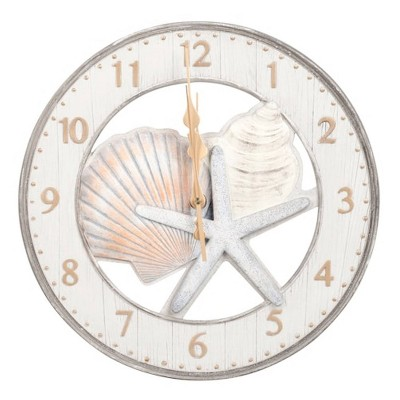 "13"" Round Resin Wall Clock with Starfish and Shells"