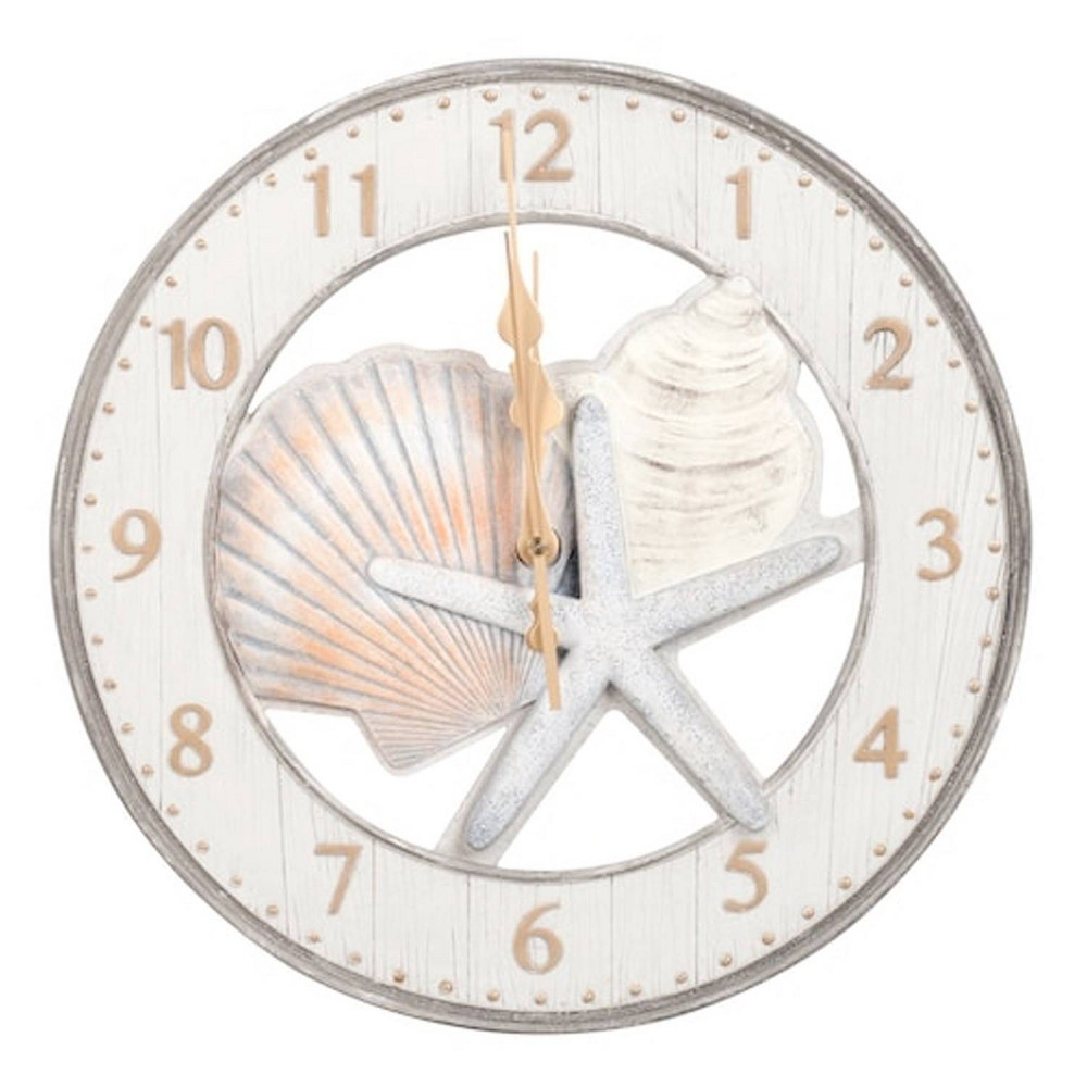 "Image of ""13"""" Round Resin Wall Clock with Starfish and Shells - MZB"""