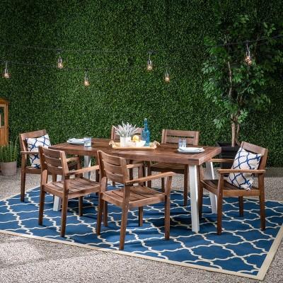 Jackson 7pc Acacia Wood Dining Set - Dark Brown - Christopher Knight Home