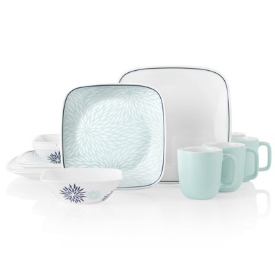 Corelle 16pc Glass Botanical Garden Dinnerware Set Teal