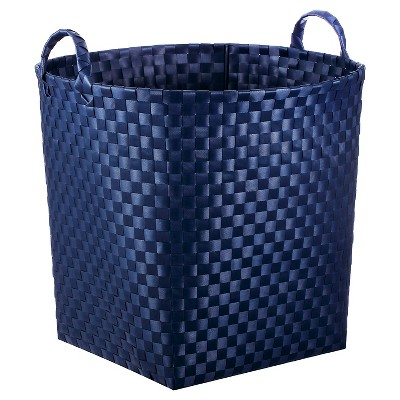 Round Woven Floor Toy Storage Bin Navy - Pillowfort™
