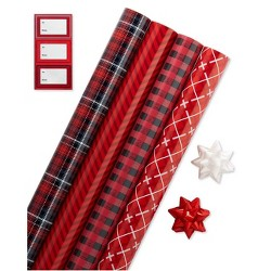 4ct Gift Wrap Red Black and White - American Greetings