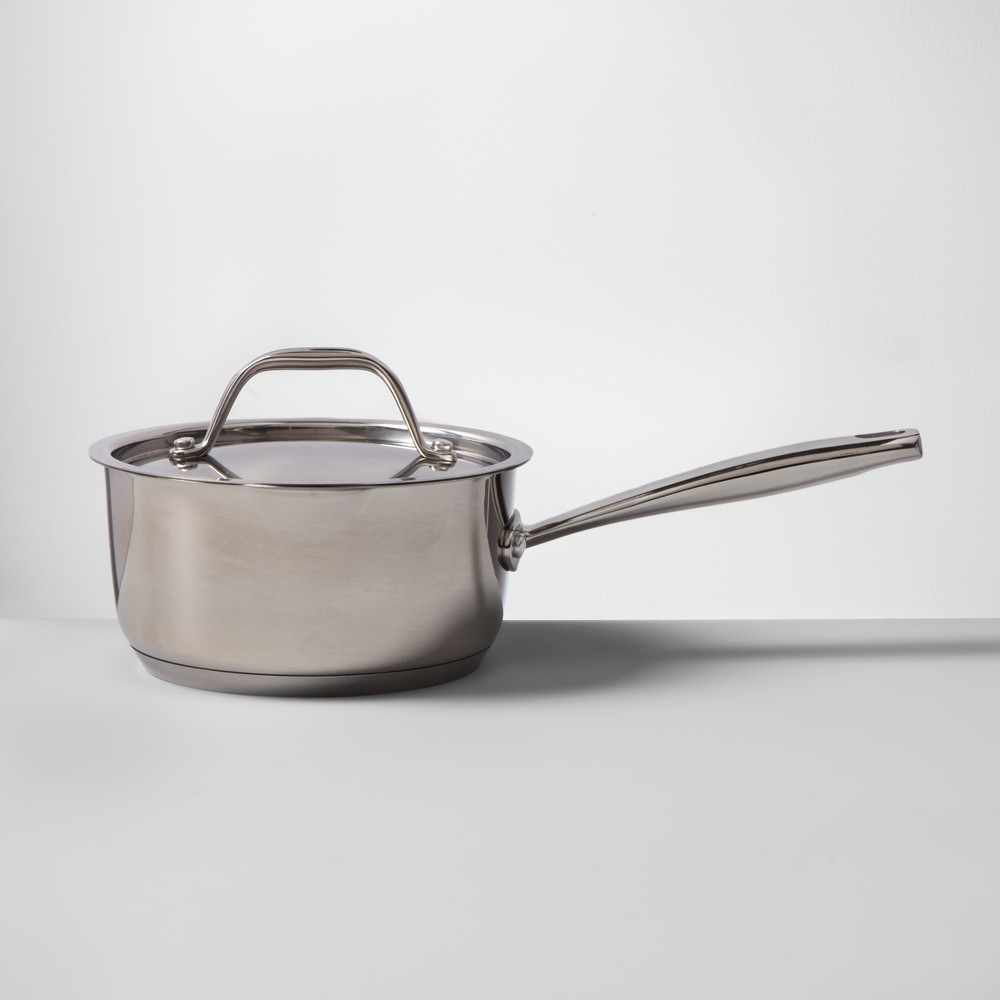 Image of Stainless Steel Covered Saucepan 1.5qt - Made By Design, Silver