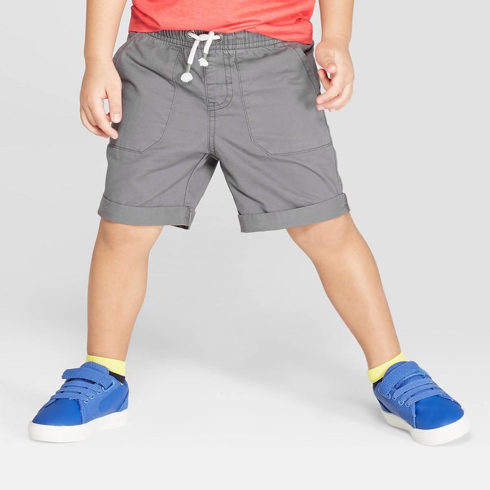 Toddler Boys' Twill Pull-On Shorts - Cat & Jack Gray 12M