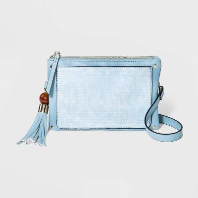 Zip Closure Triple Woven Crossbody Bag with Stud Trim - Blue